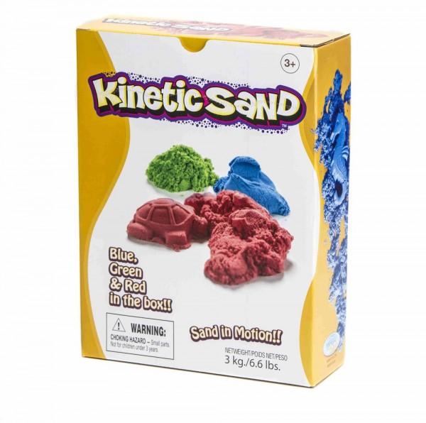 Kinetic Sand 3 kg, 1 kg of blue, red, green