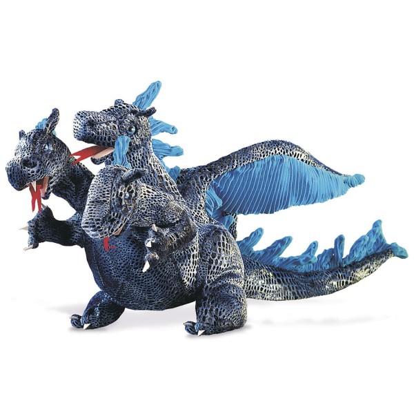 Dreiköpfiger Drachen, blau / Blue Three-Headed Dragon