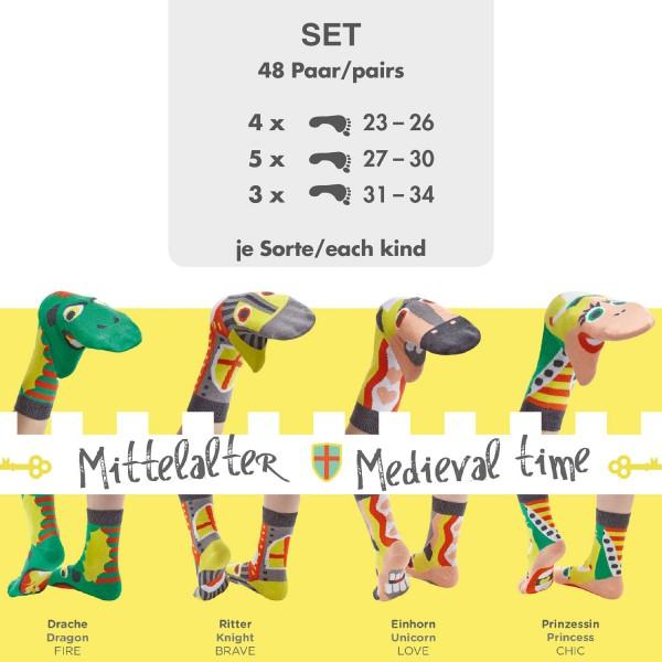 Komplettes Set 48 Paar Sockenpuppen MITTELALTER