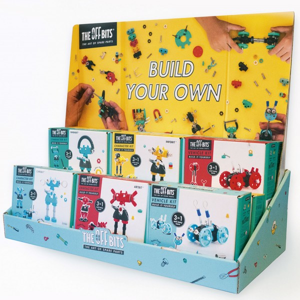 Retail Display filled -12 packs in display with sample, header, cutouts